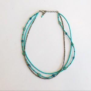 beaded turquoise layered necklace
